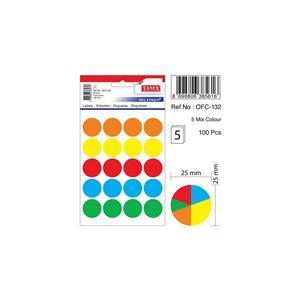 TANEX OFC-132 MIX COLOR OFİS ETİKETİ 5'li